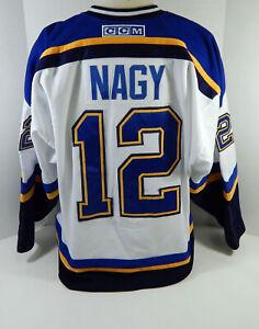 2000-01 St. Louis Blues Ladislav Nagy #12 Game Used White Jersey DP12273