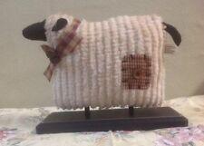 PRIMITIVE DECOR SHEEP ON BLACK WOOD BASE CHENILLE FABRIC COUNTRY FARMHOUSE