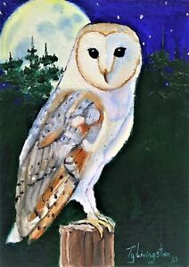 """5""""X7"""" Original oil Painting of a Barn Owl by Ty Livingston"""