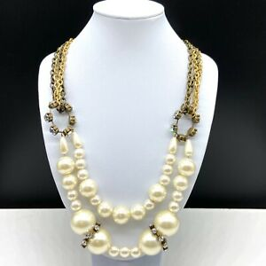 Chico's Faux Pearl Beaded Clear Rhinestone Layered Statement Necklace Gold Tone