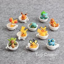 10X Pokemon Characters Pikachu EEVEE in Cup PVC Action Figures Doll Toy Set Cute