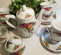 15-Piece English Rose Coffee/Tea Set by Regent China