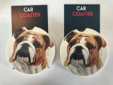 """PAIR OF NEW """" BULL DOG """" STYLE ABSORBENT STONE CAR COASTERS for the cup holder"""