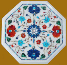 """15"""" Marble Coffee Corner Table Marquetry Lapis Semi Precious Stone Floral Craft"""