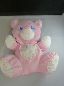 "Vintage Fisher Price Pink PUFFALUMP Bear Rattle 9"" 1994 Stuffed Nylon 1214-1216"