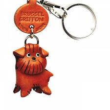 Brussels Griffon Handmade 3D Leather Dog Keychain *VANCA* Made in Japan #56779