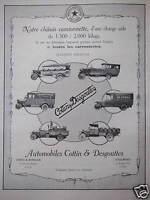 PUBLICITÉ AUTOMOBILES COTTIN & DESGOUTTES NOTRE CHASSIS CAMIONNETTE 2000 KILOS