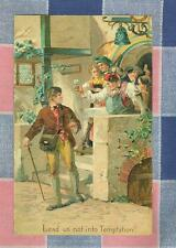 Old Postcard Lead us not into Temptation!    Drinking   Small Tear by Not
