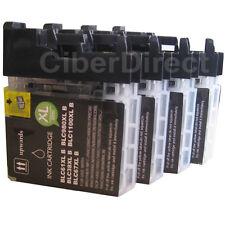 4 compatible BROTHER LC-1100 BK BLACK printer ink cartridges - VAT INVOICE.