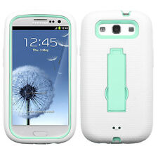 Samsung Galaxy S III 3 Impact Hard Rubber Case Cover Kickstand White Sky Blue