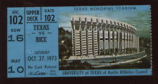 1973 NCAA Football Ticket Stub Rice @ Texas