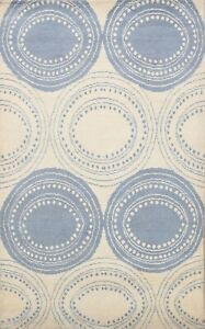 5x8 Contemporary Moroccan Oriental Area Rug Circle Design Hand-Knotted Carpet
