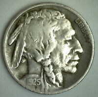1925 S Buffalo Nickel Coin Indian Head Five Cents US Type Very Fine VF #M1