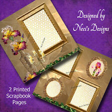 Flower Themed Scrapbook Page with Beautiful Irises - Handcrafted Art