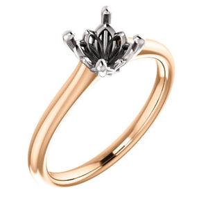 14K Rose & White Gold Round Solitaire Semi Mount Engagement Bridal Wedding Ring