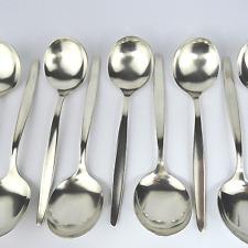 WMF Stockholm 4100 (Laurel) 3 Stück Tassen Suppen Löffel 90er Silber exzellent