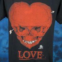 vintage 80s SKULL HEART LOVE PAPER THIN T-Shirt SMALL biker skeleton rock punk