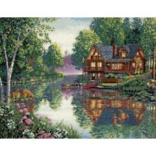 """Dimensions Gold Collection Counted Cross Stitch Kit Cabin Fever 12"""" X 16"""" 18 Ct."""