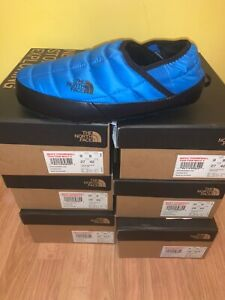 New The North Face Thermoball Mule Black Blue Men's Size 11 Fur Lined Slippers