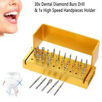 Neu 30x Zahnbohrer Dental Burs Zahnarzt Bohrer Dentalfräser+Desinfektion Ständer