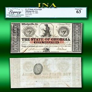 Milledgeville 1862 State of Georgia $5 Obsolete Note LEGACY Choice Unc 64 EPQ