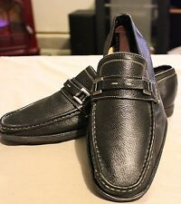 Giorgio Brutini Men Solid Black Leather SlipOn Loafers Shoes 10 M Made In Brazil
