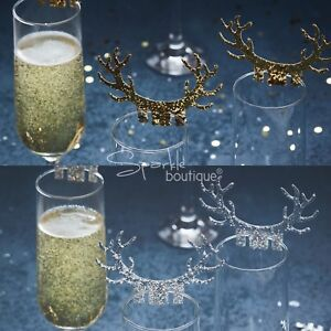 GLITTER ANTLER GLASS DECORATIONS x10 -Luxury Christmas Dinner Table Accessories