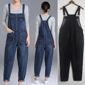 Women Casual Oversized Suspender Pants Jumpsuit Jeans Bib Overalls Baggy Romper