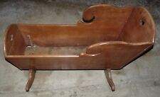 Vintage Dark Wooden Doll/Baby Cradle Heart Design 40 x17x24""