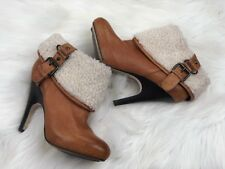 Dolce Vita Women's Brown Leather High Heel Ankle Boots Sherpa Buckles Sz 6.5M