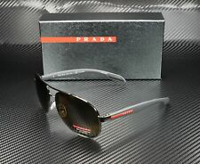 PRADA LINEA ROSSA PS 53PS 5Av5Y1 Gunmetal Polarized Brown 62 mm Men's Sunglasses