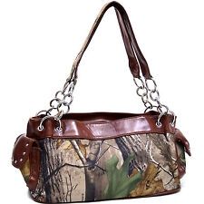 Realtree® camouflage Handbag shoulder bag with studs chain handles - camo brown