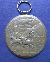 Vintage Metal token HORSE CART TOWER Medal Engraver P Kramer Collectible