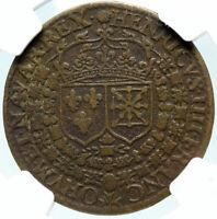 1610 FRANCE Death of King HENRY IV Tetragramatton Mason FRENCH NGC Medal i83693