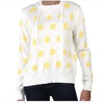 Aqua Women's Lemon Print Hooded Lightweight Knit Pullover Size M NWT