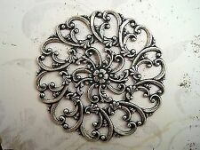 Filigree Stamping (1) - Soff999 Large Oxidized Silver Plated Brass