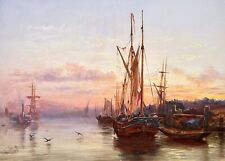 ROBERT JOBLING (1841-1923) SIGNED 1872 OIL ON BOARD - BOATS AT SUNSET HARBOUR