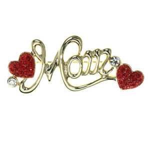 Mi Amore Mom Heart Brooch-Pin Gold-Tone & Red