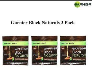 3 Pack Garnier Black Naturals 4.0 Natural Brown Oil-Enriched Cream Hair Color
