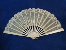 Victorian Hand Fan, White Silver Lace Vintage