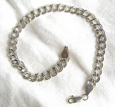 Vintage Sterling Silver Double Curb Italy Chain Starter Bracelet