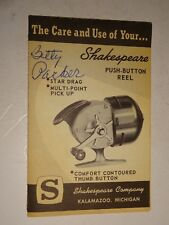 Vintage Shakespeare Fishing Reel Push Button Care and Use booklet