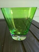 """Green Clear  Heavy Thick Decorative Glass Vase 6"""" Tall"""