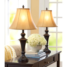 Set Of 2 Table Lamp Bedroom Living Room Nightstand Home Vintage Bronze Light New