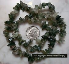 "16"" Natural moss agate chip bead strand small med size beads for beading sb024"