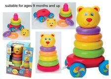 BABY Toy Pull lungo impilamento Teddy Bear Roly Poly