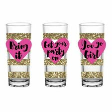 Party Girl 3-Piece Pink Heart and Sparkly Gold Stripes Shot Glass Set