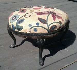 Antique Victorian Round Foot Stool w Cast Iron Legs Wool Embroidery Top