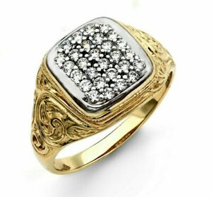 9ct Gold CZ Cushion Cluster Men's Signet Ring - UK Jewellers