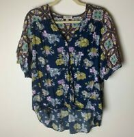 Umgee USA Women's Top Size Large Mixed Floral Short Sleeves V-Neck Snap Closure
